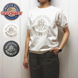"""グッドウェア リブ クルーネック ロゴプリント Tシャツ 半袖 """"marine corps"""" レディース メンズ ngt9801 GOODWEAR[ネコポス]"""