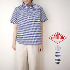 ブルー34♪ ダントン レディース 半袖 プルオーバーシャツ ギンガム オックスフォード ラウンドカラー DANTON
