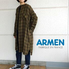 アーメン ダブルガーゼ バンドカラー チェック ロングシャツ ワンピース ARMEN