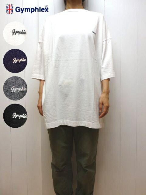 ホワイト ジムフレックス ドロップショルダー 7分 ビッグTシャツ ロゴ刺繍  チュニック レディース メンズ Gymphlex