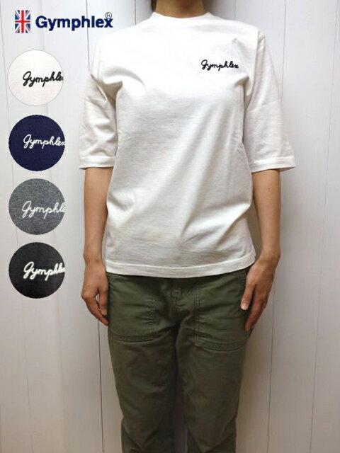 白、紺のみ ジムフレックス レディース 5分袖 Tシャツ ロゴ刺繍 Gymphlex