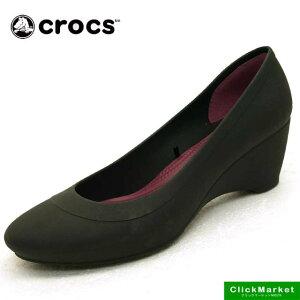 クロックス crocs lina wedge w 203408-001 黒 リナ ウェッジ 防水 パンプスレディース