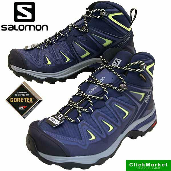 サロモン SALOMON X ULTRA 3 WIDE MID GTX W 401296 ウルトラ 3 ワイド ミッド ゴアテックス 紺紫 ハイキング 登山靴 防水 レディース
