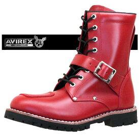 【ミンクオイルプレゼント】アビレックス AVIREX YAMATO ヤマト レースアップ 赤 バイクブーツ 天然皮革 2100 メンズ