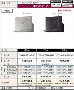 タカラスタンダード レンジフードVUAタイプ シロッコファン+鋼板幕板 幅750mmx高さ600・640・700mm 北海道沖縄及び離島は別途送料掛かります。