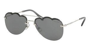 【新作】ミュウミュウ サングラス MiuMiu 取扱店 品番MU56US-1BC175 カラーSILVER/dark grey flash silver lens フィットStandard レディース 人気 誕生日ギフト おしゃれメガネケース かわいいマーク UVカット
