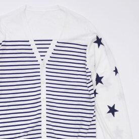 ユニフォームエクスペリメント uniform experiment Star Border Cardigan カーディガン WHITE ホワイト メンズ サイズ3 【中古】 334000030530 (TOPS)