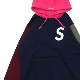 シュプリーム SUPREME S Logo Colorblocked Hooded Sロゴ スウェット パーカー NAVY ネイビー 紺 メンズ 【新品】 211000634037
