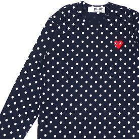 新品 プレイ コムデギャルソン PLAY COMME des GARCONS MENS DOT RED HEART L/S TEE 長袖Tシャツ NAVY ネイビー 紺 メンズ 新作