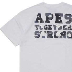 新品 エイプ A BATHING APE 19AW CITY CAMO COLLEGE ATS TEE Tシャツ WHITExBLACK ホワイト 白 メンズ 2019AW 新作 1F80110028