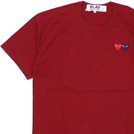 新品 プレイ コムデギャルソン PLAY COMME des GARCONS MENS 2HEART TEE Tシャツ BURGUNDY バーガンディー メンズ