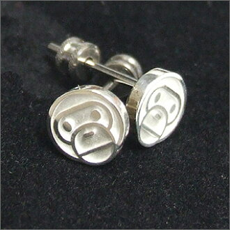 A BATHING APE (APE) MILO FACE earrings SILVER