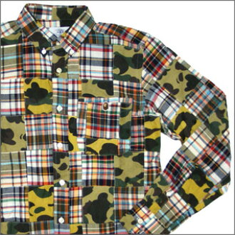 c48f10530 Long sleeves shirt GREEN CAMO216000715045 1930131003 where エイプ A BATHING  APE 1ST CAMO PATCHWORK is button-downed