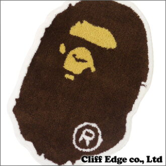 A BATHING APE APE HEAD rag mat BROWN 290-002077-016-