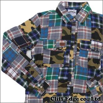 8e3a3180f A BATHING APE 1ST CAMO FLANNEL PATCHWORK long sleeves t-shirt GREEN CAMO  216-000895-045-