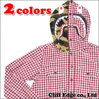 A BATHING APE SHARK GINGHAM CHECK OX HOODIE SH(食物长袖子衬衫)217-000041-033(1080-131-012)-