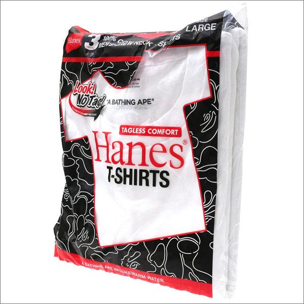 エイプ A BATHING APE x Hanes ヘインズ 3P TSHIRTS Tシャツ3枚セット WHITE 1D23183902 200007578050 【新品】