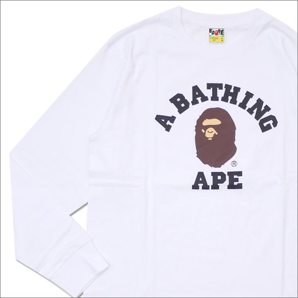 A BATHING APE (エイプ) COLLEGE L/S TEE (長袖Tシャツ) WHITE 1D75-111-005 202-000913-050x【新品】