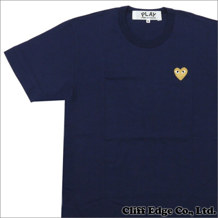 PLAY COMME des GARCONS プレイコムデギャルソン GOLD HEART ONE POINT TEE Tシャツ NAVYxGOLD 200006748047 【新品】