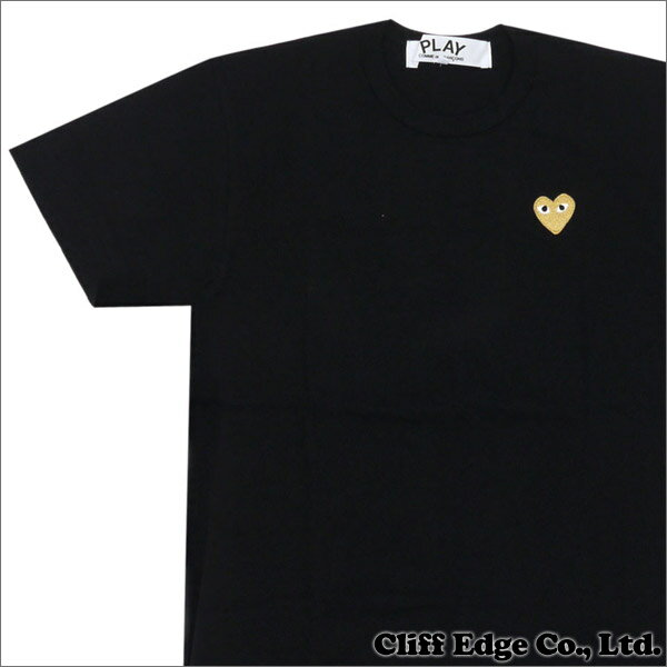 PLAY COMME des GARCONS(プレイコムデギャルソン) GOLD HEART ONE POINT TEE (Tシャツ) BLACKxGOLD 200-006748-041x【新品】