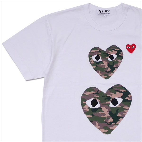 PLAY COMME des GARCONS(プレイ コムデギャルソン) MEN'S CAMO TWO HEART TEE (Tシャツ) WHITE 200-007703-050x【新品】