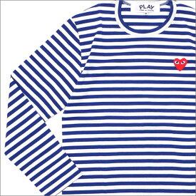 プレイ コムデギャルソン PLAY COMME des GARCONS MEN'S BORDER RED HEART L S TEE 長袖Tシャツ BLUE 202000940044 【新品】