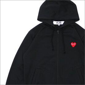 プレイ コムデギャルソン PLAY COMME des GARCONS MEN'S RED HEART ZIP UP JERSEY PARKA パーカー BLACK 212001017051 【新品】