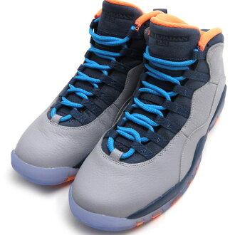 NIKE AIR JORDAN 10 RETRO(空气乔丹)(运动鞋)(鞋)WOLF GREY/DARK POWDER BLUE-NEW SLATE-ATOMIC ORANGE 310805-026 803-000190-302+