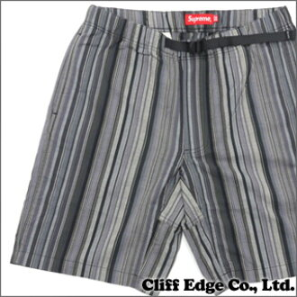 SUPREME Striped Madras Belted Short(短裤)BLACK 244-000577-641-