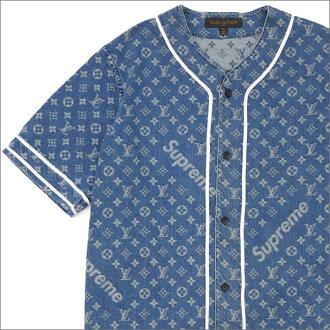 bdda440aac64bb シュプリーム SUPREME x LOUIS VUITTON Louis Vuitton Jacquard Denim Baseball Jersey  baseball shirt INDIGO 215001289054