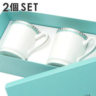 Tiffany&Co.Platinum blue band mug 2 pieces set (gift) (kitchen) WHITE 290 - 003886 - 010x