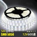LEDテープライト 完全防水 DC12V 専用 SMD5050 600連 二列式 カバー付き LEDテープ ホワイト 5M 船舶 照明 蛍光灯led…