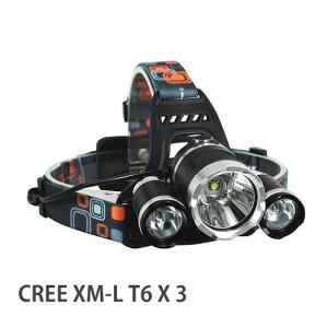 LEDチップ3個搭載 XM-L T6 3 LED 防滴加工ヘッドランプ ヘッドライト 野営 地震 釣り 自転車送料無料