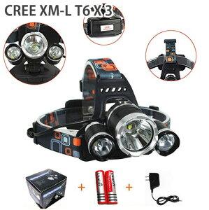 LED ヘッドライト T6 LEDチップ3個搭載18650リチウムイオン充電池2本充電器セット送料無料