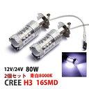 12V/24V H3 爆光LED フォグランプ 80W 2個セット 青白8000k 送料無料
