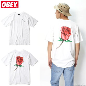"""OBEY BASIC TEES """"OBEY AIRBRUSHED ROSE"""" (WHITE)"""