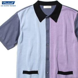 RADIALL KINGSTON - ONE PIECE COLLARED SWEATER S/S (MULTI PURPLE) ラディアル