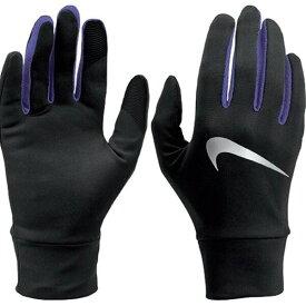 【クーポン配布中】【送料無料】Nike ナイキ レディース ライトウエイト テック ランニング グローブ 手袋 ブラック/パープル Sサイズ - メール便発送