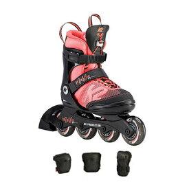 K2 ケーツー ジュニア インラインスケート MARLEE PRO PACK / BLACK/CORAL 3点プロテクター付 キッズ 女の子 子供用