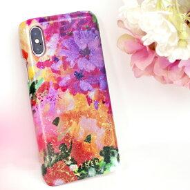 【AETHER(エーテル) 】エナメルレザー「フルール」スマホケース(iPhoneX/XS対応)ハードケース シェル型スマホカバー iPhoneX iPhone10 レディース かわいい 花柄 カラフル 本革 ファッション 人気 大人可愛いレザーブランド