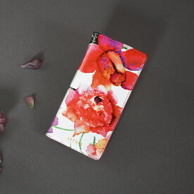 【AETHER(エーテル) 】エナメルレザー「ピヴォワンヌ」手帳型スマホケース(全機種対応)スマホカバー 全機種対応 iPhone 花柄 かわいい おしゃれ スマートフォン 赤 ピンク 花柄 誕生日プレゼント 女性 本革 大人可愛いレザーブランド