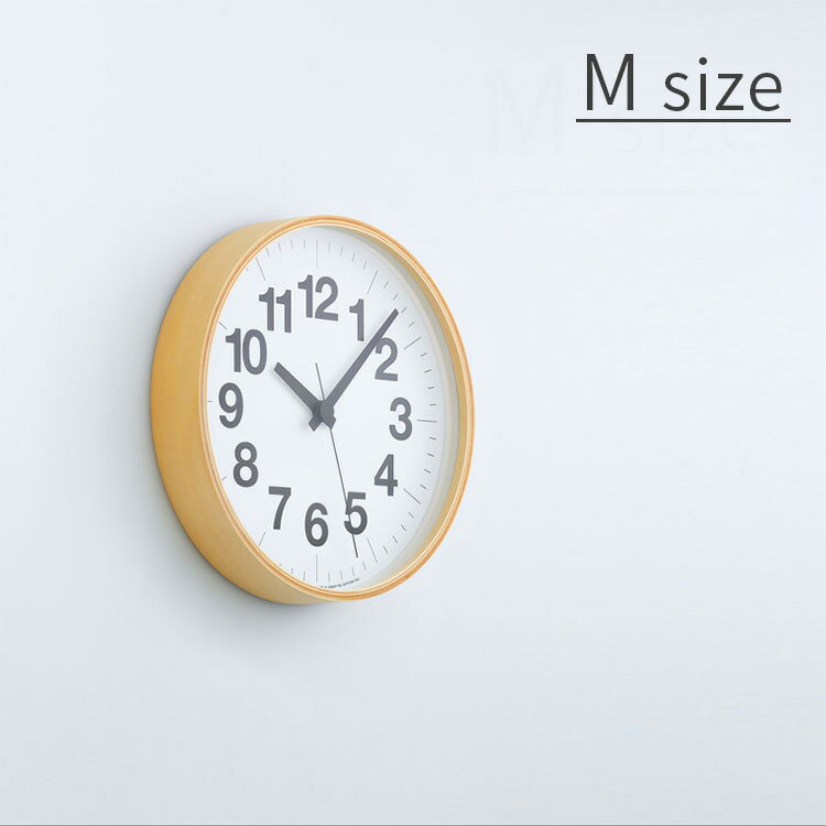 掛け時計 ナンバーの時計 Mサイズ Lemnos[レムノス] YK16-03 M【スイープムーブメント スイープセコンド 壁掛け時計 時計 壁掛け プライウッド ビンテージ ナチュラル 北欧 テイスト デザイナーズ かわいい おしゃれ インテリア 木製 新築 出産 ウォールクロック】