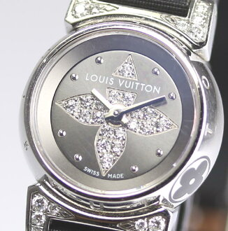 루이비통 드럼 비쥬 Q151K 다이아몬드 쿼츠 레이디스 손목시계/보증서 붙어 있는