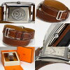 With Hermes Cape Cod do bulldog Tours CC1 .710 self-winding watch silver clockface pure □ H carved seal leather belt men watch box