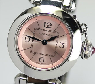 It has Cartier Miss pasha W314008 pink clockface quartz Lady's box, a warranty