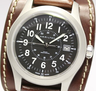 With Hamilton khaki mechanical H695190 pure leather belt rolling by hand men watch box, guarantee card