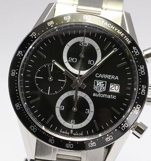 ☆With ☆ タグホイヤーカレラクロノグラフ CV2010-3 black clockface self-winding watch men watch / box having good precision, guarantee card
