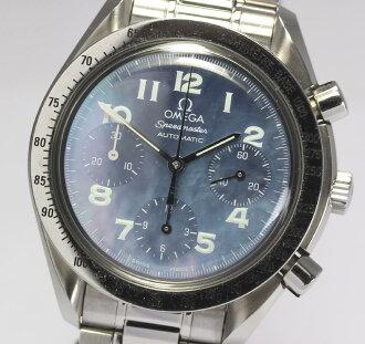跟从奥米伽速度主人3502.73蓝色外壳表盘自动卷人手表箱子、保证金卡、剩下驹