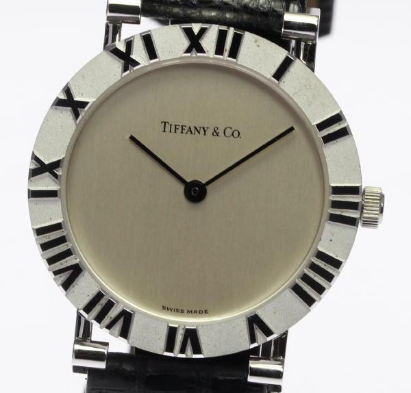 【TIFFANY&Co.】ティファニー アトラス M0640 革ベルト クォーツ メンズ腕時計◆【中古】