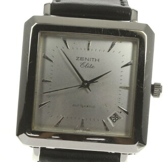 Zenith elite 90/01 .0100.670 self-winding watch outside a company building leather belt men☆